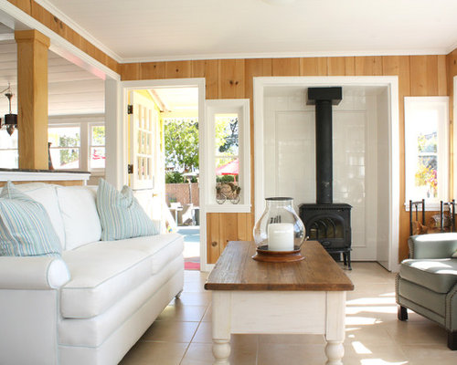 inspiration for a small timeless living room remodel in san francisco with a wood stove - Wood Stove Backsplash