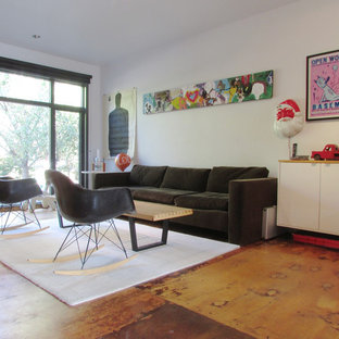 Trendy plywood floor living room photo in Toronto with white walls