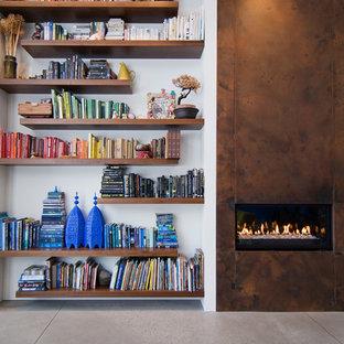 Immagine di un soggiorno design con pavimento in cemento e cornice del camino in metallo