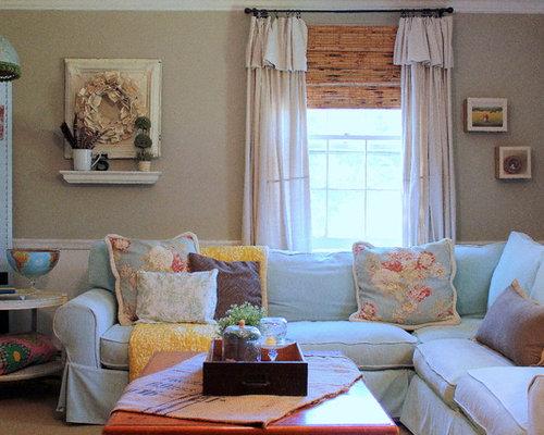 Salon romantique avec un mur gris photos et id es d co for Salon romantique