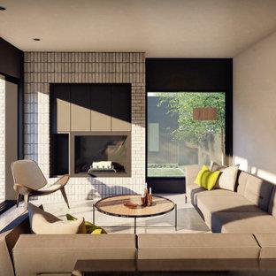 Modelo de salón ladrillo, minimalista, pequeño, ladrillo, con paredes blancas, suelo de piedra caliza, chimenea tradicional, marco de chimenea de ladrillo, televisor retractable, suelo gris y ladrillo