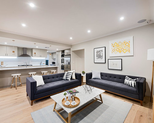 Design Ideas For A Scandinavian Open Concept Living Room In Perth With Grey  Walls And Light