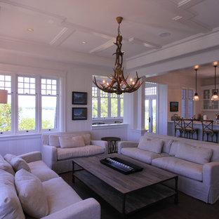 Foto di un soggiorno stile marino chiuso con sala formale, pareti bianche, parquet scuro, camino bifacciale e cornice del camino in pietra