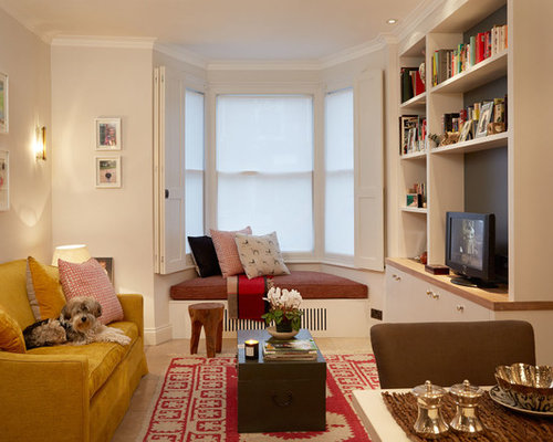 Transitional Formal And Enclosed Living Room Photo In London With White  Walls And A Tv Stand