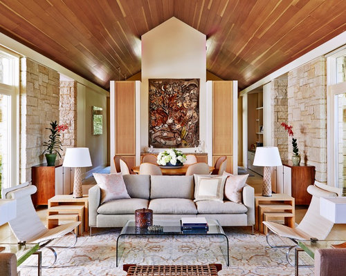 Mid Sized Transitional Formal Open Concept Living Room Idea In San  Francisco With Beige Walls