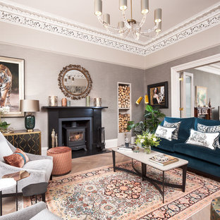 Inspiration for a medium sized classic living room in Edinburgh with grey walls.