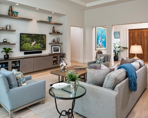 Beach style living room design ideas remodels photos for Beach chic living room ideas
