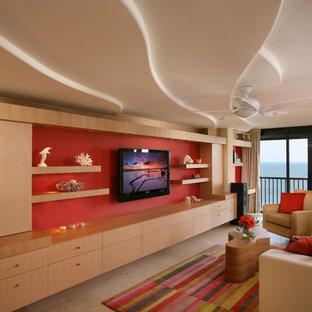 Ispirazione per un soggiorno contemporaneo di medie dimensioni e stile loft con pareti rosse, TV a parete, sala formale e pavimento con piastrelle in ceramica