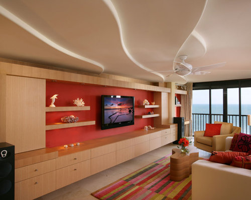 Mid Sized Contemporary Formal And Loft Style Ceramic Floor Living Room Idea In Miami