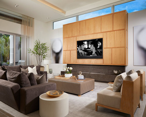 Example Of A Trendy Living Room Design In Miami With White Walls, A Ribbon  Fireplace