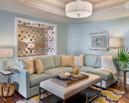 Inspiration For A Transitional Living Room Remodel In Miami With Blue Walls And Medium Tone Hardwood