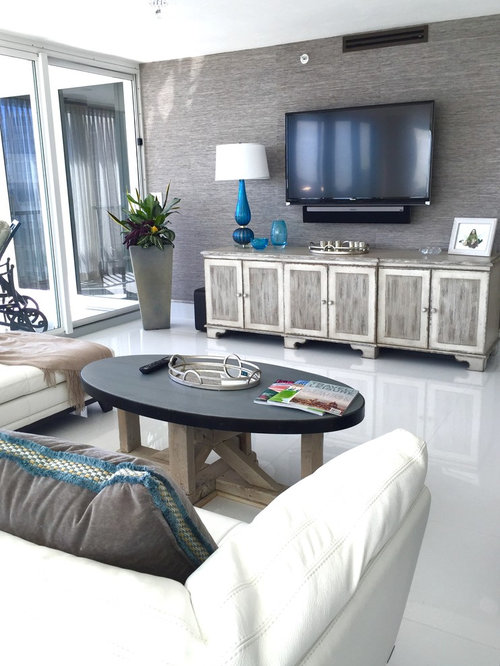 Large Minimalist Open Concept Porcelain Floor Living Room Photo In Miami  With Gray Walls And A Part 36