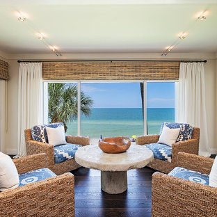 Inspiration for a large tropical formal and open concept dark wood floor and brown floor living room remodel in Miami with beige walls and no tv