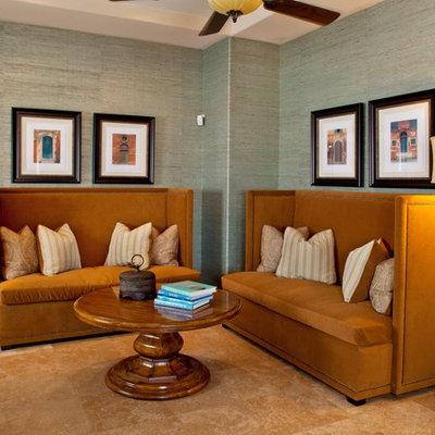 Elegant living room photo in Las Vegas with green walls