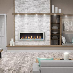 Inspiration for a large beach style formal and open concept gray floor living room remodel in Other with a ribbon fireplace, a metal fireplace, no tv and beige walls