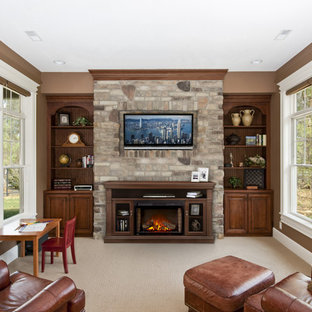 This is an example of a medium sized rustic open plan living room in Toronto with brown walls, carpet, a standard fireplace, a stone fireplace surround, a wall mounted tv and beige floors.