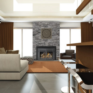 Living room - large contemporary formal and open concept ceramic floor living room idea in Denver with beige walls, a standard fireplace and a stone fireplace