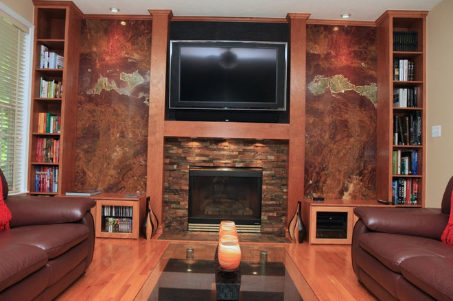 TV over fireplace wall units