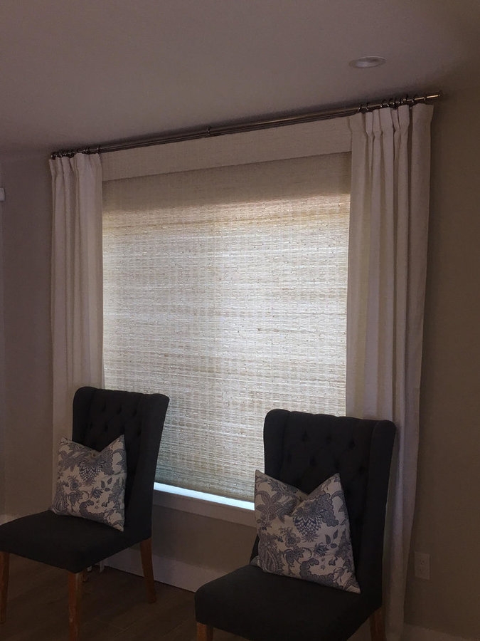 Natural Woven Shades with Decorative Side Panels
