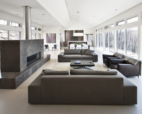 Inspiration For A Large Contemporary Formal And Open Concept Porcelain Floor Beige Living Room