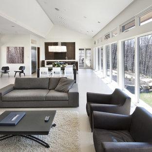 Großes, Repräsentatives, Fernseherloses, Offenes Modernes Wohnzimmer mit weißer Wandfarbe, Porzellan-Bodenfliesen, Gaskamin, Kaminsims aus Metall und beigem Boden in Ottawa