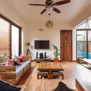 Example Of An Asian Living Room Design In Bengaluru