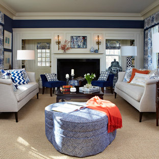 Navy and Patterns: Living Room