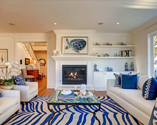 Inspiration For A Beach Style Living Room Remodel In Los Angeles With White Walls Medium