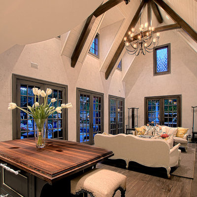 Inspiration for a large timeless formal and open concept medium tone wood floor living room remodel in Chicago with beige walls and no fireplace