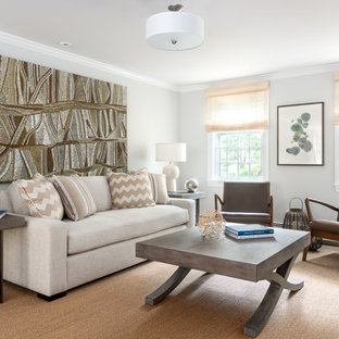 Transitional formal light wood floor living room photo in Boston with gray walls