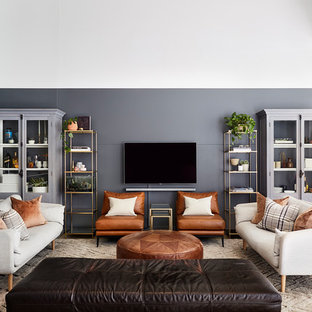 Photo Of A Contemporary Open Concept Living Room In Melbourne With Grey  Walls, No Fireplace