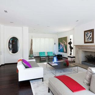 Modelo de salón cerrado, moderno, grande, sin televisor, con paredes blancas, suelo de madera oscura, chimenea tradicional, marco de chimenea de piedra y suelo marrón