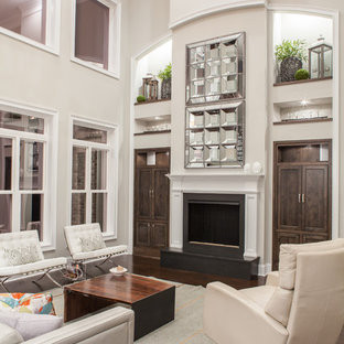 Inspiration for a transitional living room remodel in Charleston with gray walls