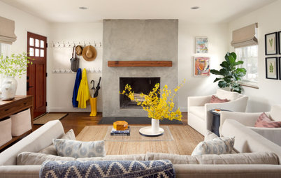New This Week: 7 Stylish Fireplaces in Transitional Living Rooms