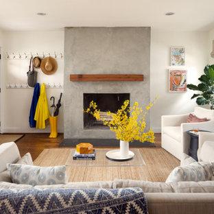Ejemplo de salón clásico renovado con paredes blancas y marco de chimenea de hormigón