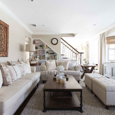 Inspiration for a mid-sized timeless formal and open concept dark wood floor living room remodel in New York with beige walls