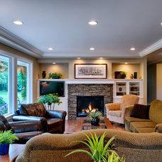 Transitional Living Room by Kenorah Design + Build Ltd.
