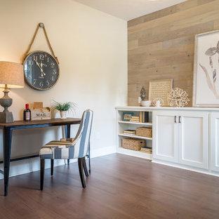 Living room - mid-sized coastal open concept dark wood floor and brown floor living room idea with beige walls