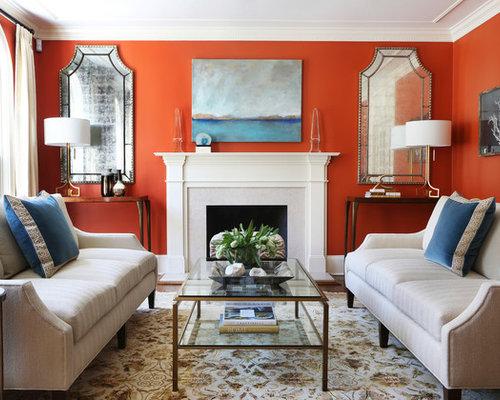 Foto e idee per living living classico con pareti rosse