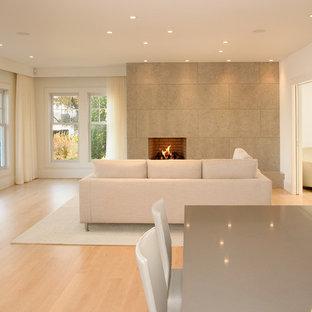 ポートランド(メイン)のモダンスタイルのおしゃれなリビング (白い壁、標準型暖炉、ベージュの床) の写真