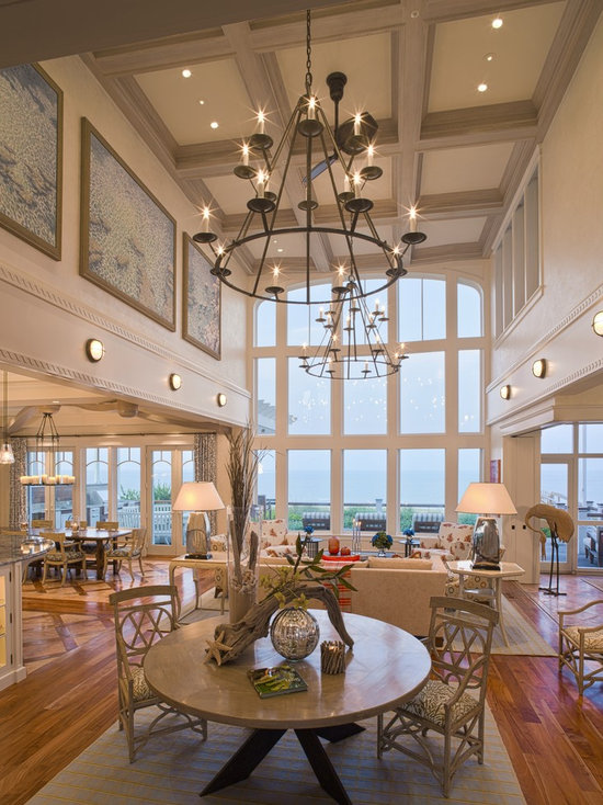 beach style high ceiling living room design ideas, remodels