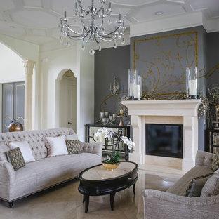Ejemplo de salón para visitas abierto, tradicional, extra grande, sin televisor, con chimenea tradicional, suelo beige, paredes blancas, suelo de mármol y marco de chimenea de piedra