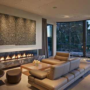 Inspiration for a contemporary formal living room remodel in San Francisco with beige walls and a ribbon fireplace