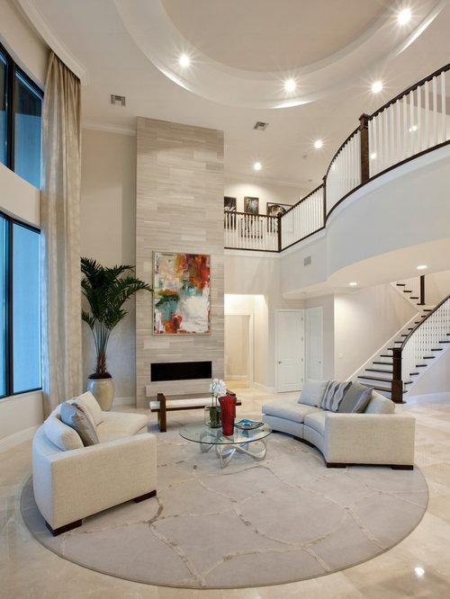 Wohnzimmer mit kaminsims aus backstein und marmorboden ideen design bilder beispiele - Marmorboden wohnzimmer ...