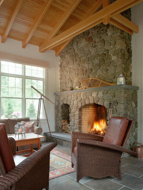 rustikale wohnzimmer mit porzellan bodenfliesen ideen. Black Bedroom Furniture Sets. Home Design Ideas