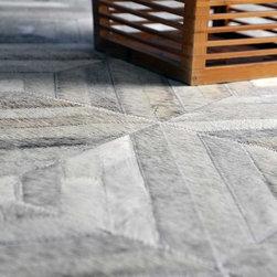 New Design - Gray Diamond Patchwork Cowhide Rug -