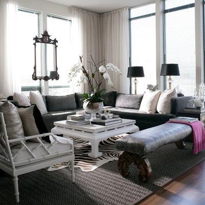 Living room - transitional formal dark wood floor living room idea in New York with gray walls