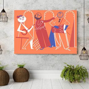 Idee per un soggiorno tradizionale di medie dimensioni e aperto con pareti arancioni