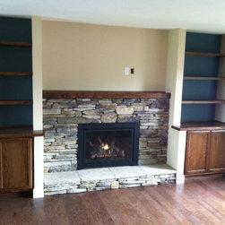 New Gas Fireplace Insert with Masonry Veneer -