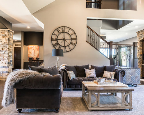 Example Of A Mountain Style Open Concept Dark Wood Floor Living Room Design In Other With